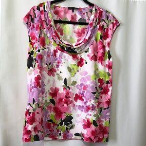Anne Klein Floral Sleeveless Cowl Neck Top Size L